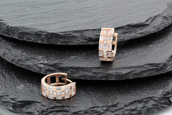 Giorgio Bergamo Earrings 925 Sterling Silver Rose Gold Plated 3 Row Huggie Earrings MJE0229