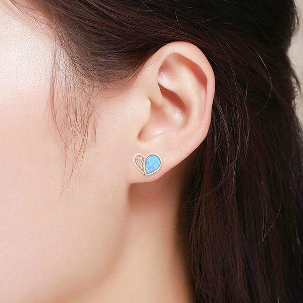 Giorgio Bergamo Earrings 925 Sterling Silver Rose Gold Plated Blue Fire Opal Heart Stud Earring MJE0045