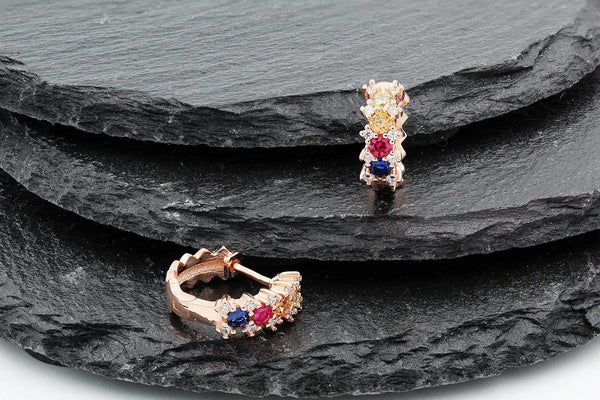 Giorgio Bergamo Earrings 925 Sterling Silver Rose Gold Plated Fancy Rainbow Huggie Earrings MJE0187