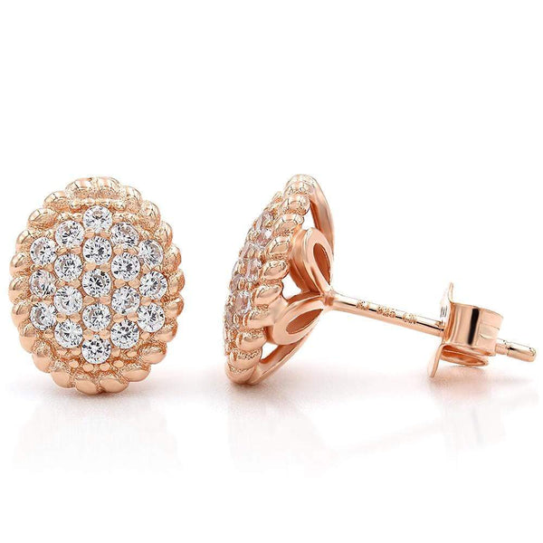 Giorgio Bergamo Earrings 925 Sterling Silver Rose Gold Plated Micro Pave Braided Oval Stud Earring MJE102
