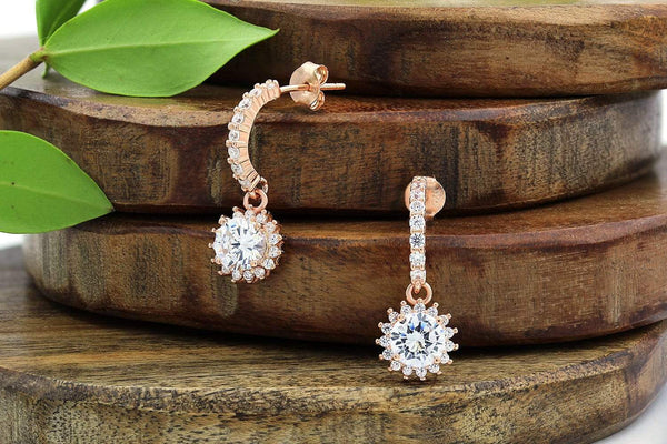 Giorgio Bergamo Earrings 925 Sterling Silver Rose Gold Plated Micro Pave Burst Drop Earrings MJE0062
