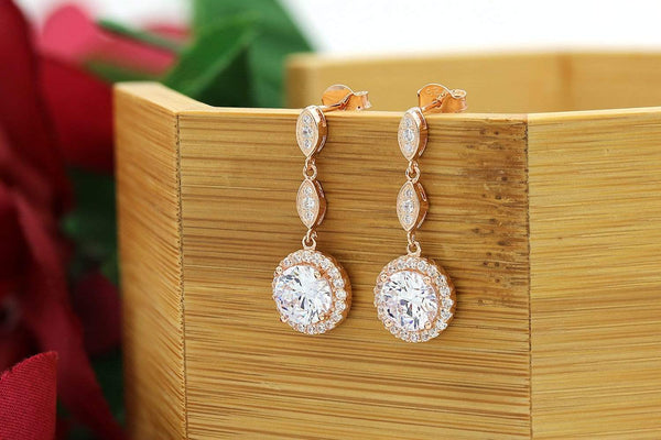 Giorgio Bergamo Earrings 925 Sterling Silver Rose Gold Plated Micro Pave Halo Drop Earrings MJE2722