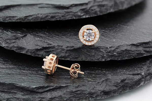Giorgio Bergamo Earrings 925 Sterling Silver Rose Gold Plated Micro Pave Round Halo Stud Earring MJE9666