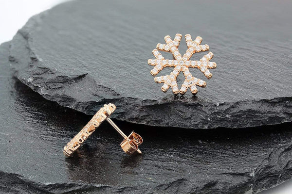 Giorgio Bergamo Earrings 925 Sterling Silver Rose Gold Plated Micro Pave Snowflake Stud Earring MJE12325