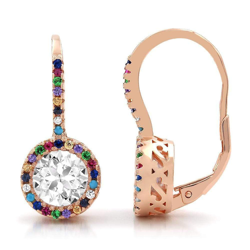 Giorgio Bergamo Earrings 925 Sterling Silver Rose Gold Plated Rainbow Halo Drop Earrings MJE111