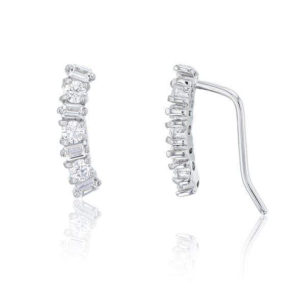 Giorgio Bergamo Earrings 925 Sterling Silver Round & Baguette Ear Climber Earring SZE9509W2W