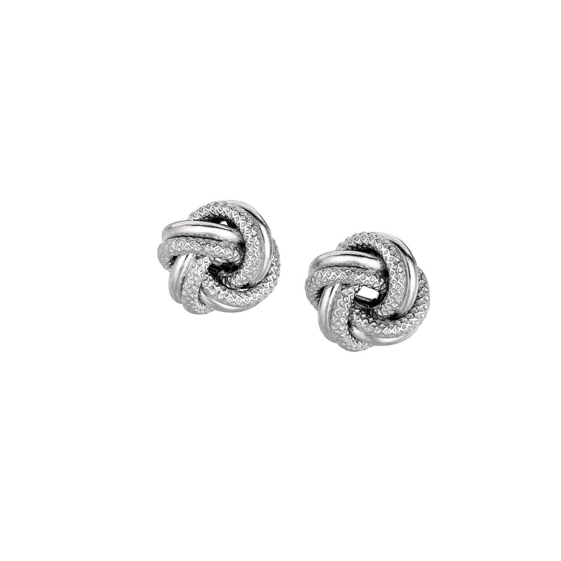 Giorgio Bergamo Earrings 925 Sterling Silver Textured Love Knot Stud Earring AGE791