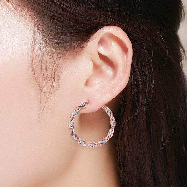 Giorgio Bergamo Earrings 925 Sterling Silver Twisted Glitter Hoop Earrings