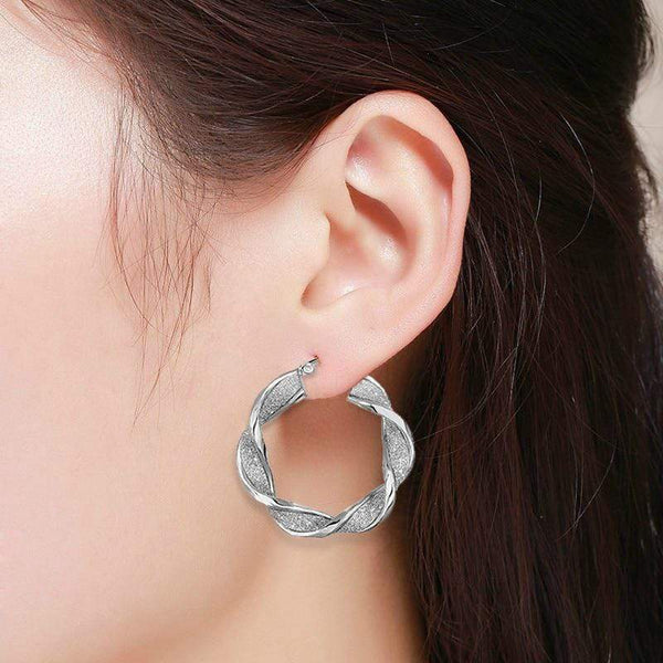 Giorgio Bergamo Earrings 925 Sterling Silver Twisted Sparkle Hoop Earring AGER5137