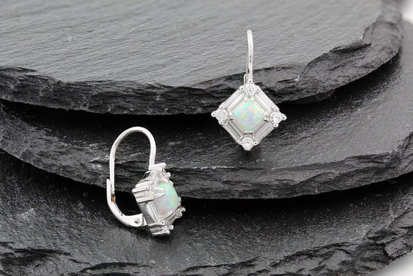 Giorgio Bergamo Earrings 925 Sterling Silver White Fire Opal Diamond Halo Dangle Earring MJE1476