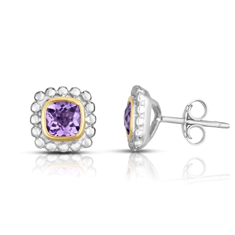 Giorgio Bergamo Earrings Amethyst 925 Sterling Silver & 18kt Gold Gemstone Halo Stud Earrings SILER10908