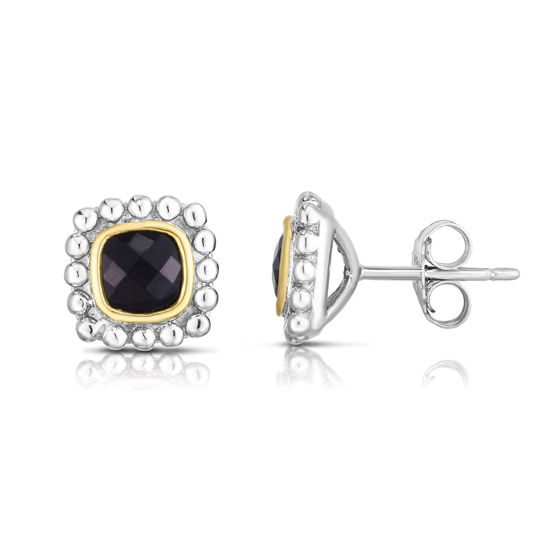 Giorgio Bergamo Earrings Black Onyx 925 Sterling Silver & 18kt Gold Gemstone Halo Stud Earrings SILER11284