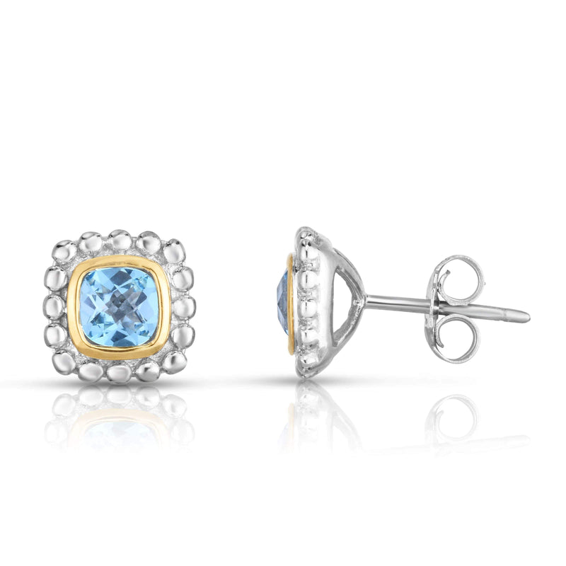 Giorgio Bergamo Earrings Blue Topaz 925 Sterling Silver & 18kt Gold Gemstone Halo Stud Earrings SILER10909