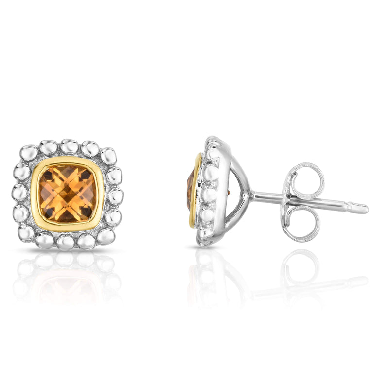 Giorgio Bergamo Earrings Citrine 925 Sterling Silver & 18kt Gold Gemstone Halo Stud Earrings SILER11281