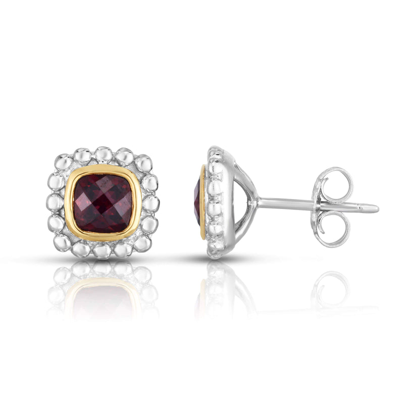 Giorgio Bergamo Earrings Garnet 925 Sterling Silver & 18kt Gold Gemstone Halo Stud Earrings SILER10910