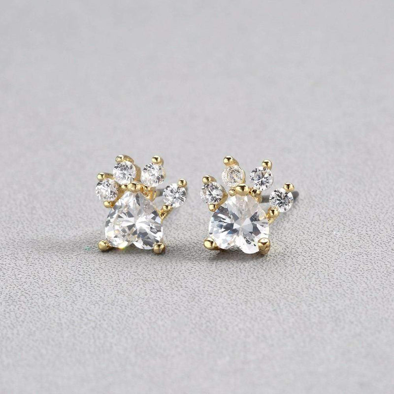 Giorgio Bergamo Earrings Gold Gold Plated Crystal Dog Paw Stud Earring MJE5011