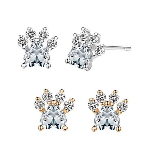 Giorgio Bergamo Earrings Gold Plated Crystal Dog Paw Stud Earring