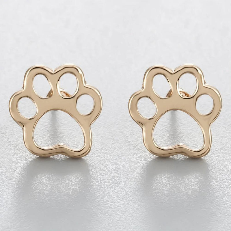 Giorgio Bergamo Earrings Gold Plated Cut Out Dog Paw Stud Earring MJE0014