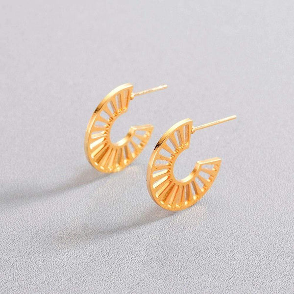 Giorgio Bergamo Earrings Gold Plated Cut Out Half Hoop Earring MJE0012