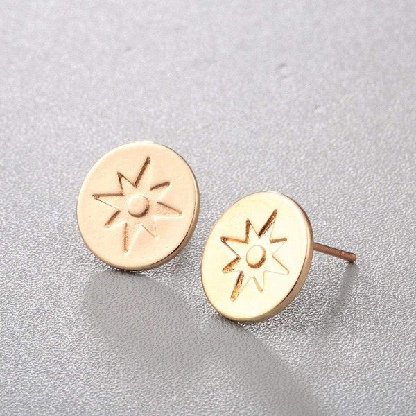 Giorgio Bergamo Earrings Gold Plated North Star Disc Stud Earring MJE0013