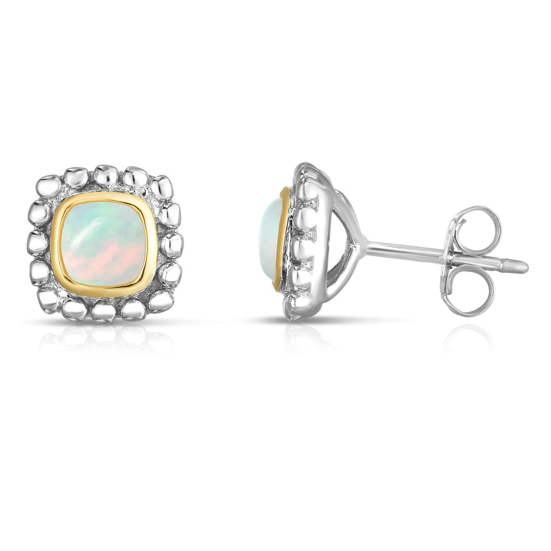 Giorgio Bergamo Earrings Milky Opal 925 Sterling Silver & 18kt Gold Gemstone Halo Stud Earrings SILER11367