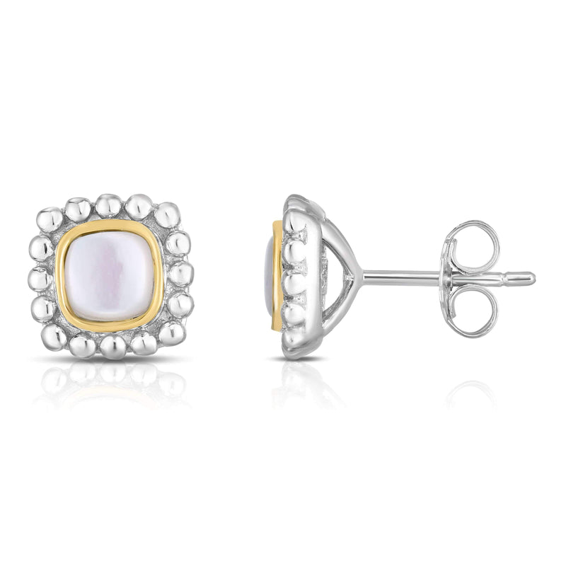 Giorgio Bergamo Earrings Mother of Pearl 925 Sterling Silver & 18kt Gold Gemstone Halo Stud Earrings SILER11368