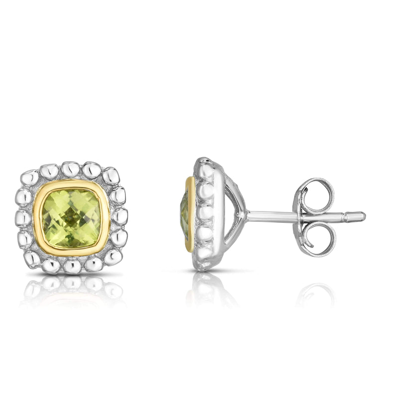 Giorgio Bergamo Earrings Peridot 925 Sterling Silver & 18kt Gold Gemstone Halo Stud Earrings SILER11282