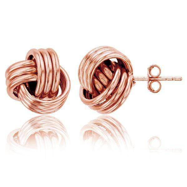 Giorgio Bergamo Earrings Rose 925 Sterling Silver 12mm Polished Love Knot Stud Earring MJSSE462R