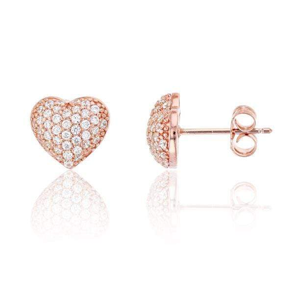 Giorgio Bergamo Earrings Rose 925 Sterling Silver Cubic Zirconia Puffed Heart Stud Earring MJSSE149