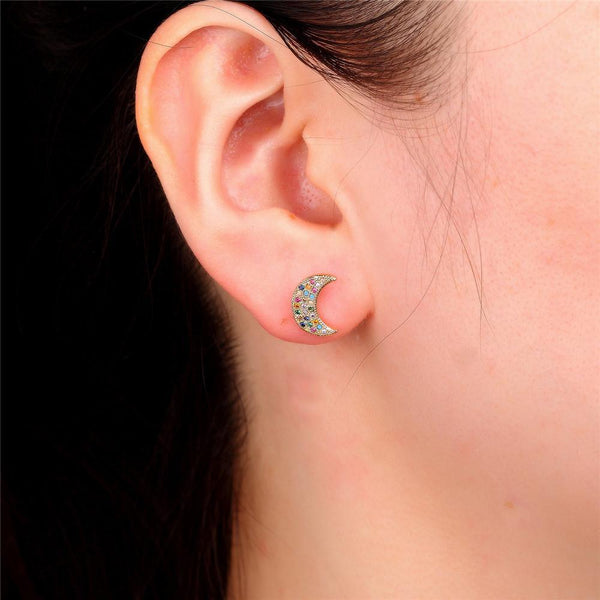 Giorgio Bergamo Earrings Rose Gold Plated Rainbow Studded CZ Crescent Moon Stud Earring MJE116