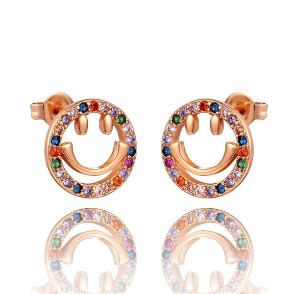 Giorgio Bergamo Earrings Rose Gold Plated Rainbow Studded CZ Emoji Stud Earring MJE121