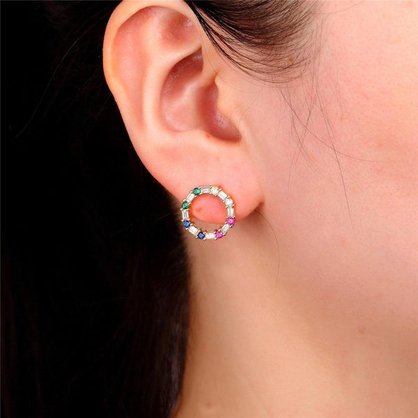 Giorgio Bergamo Earrings Rose Gold Plated Rainbow Studded CZ Open Circle Stud Earring MJE117
