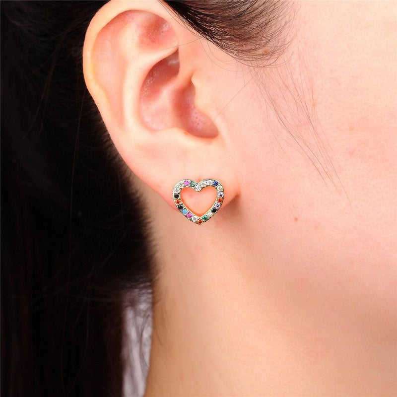 Giorgio Bergamo Earrings Rose Gold Plated Rainbow Studded CZ Open Heart Stud Earring MJE115