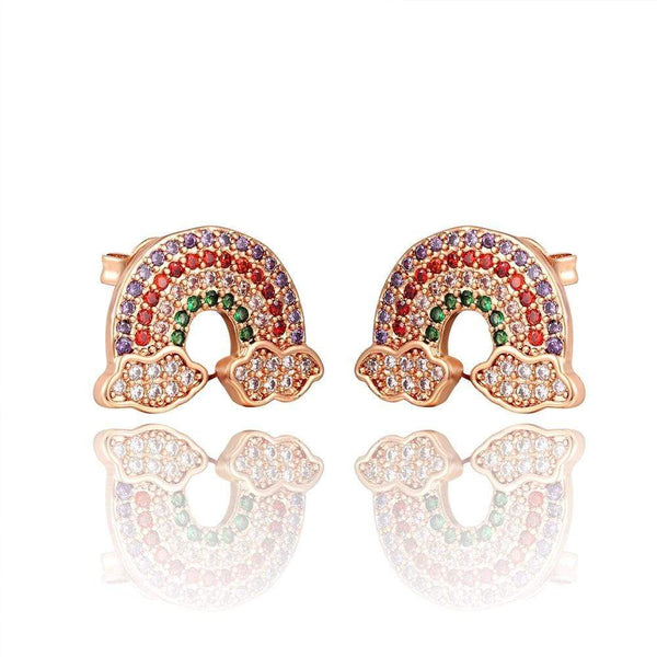 Giorgio Bergamo Earrings Rose Gold Plated Rainbow Studded CZ Rainbow Stud Earring MJE119