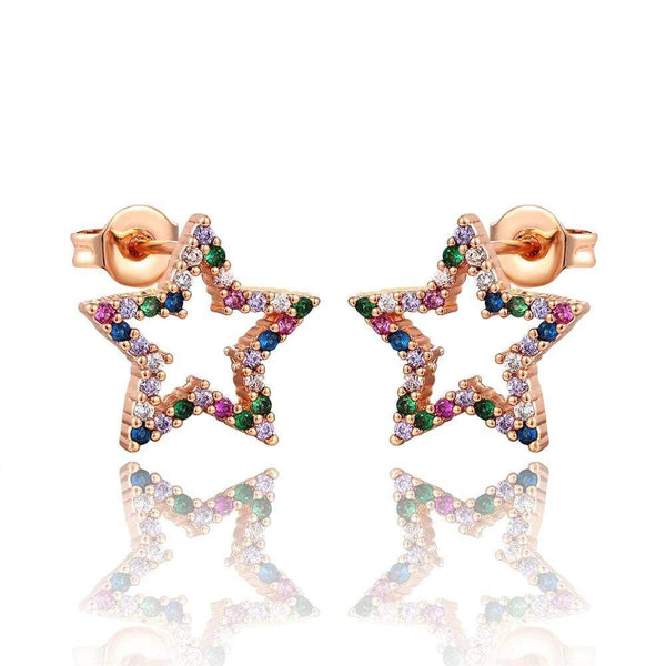 Giorgio Bergamo Earrings Rose Gold Plated Rainbow Studded CZ Star Stud Earring MJE118