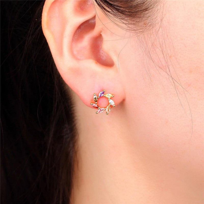 Giorgio Bergamo Earrings Rose Gold Plated Rainbow Studded CZ Swirl Stud Earring MJE120