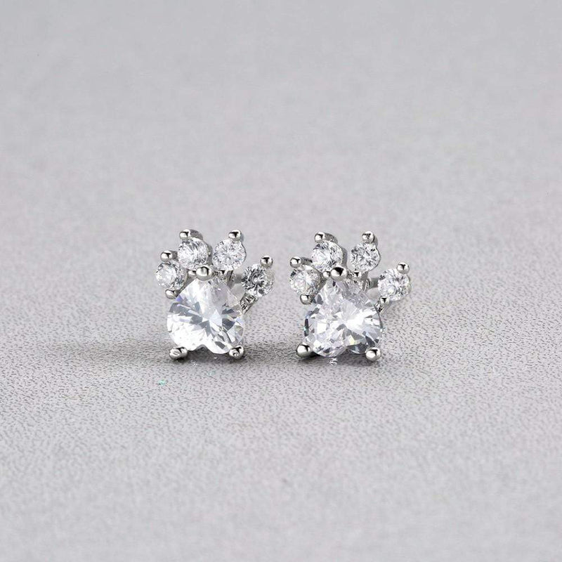 Giorgio Bergamo Earrings Silver Gold Plated Crystal Dog Paw Stud Earring MJE5011W