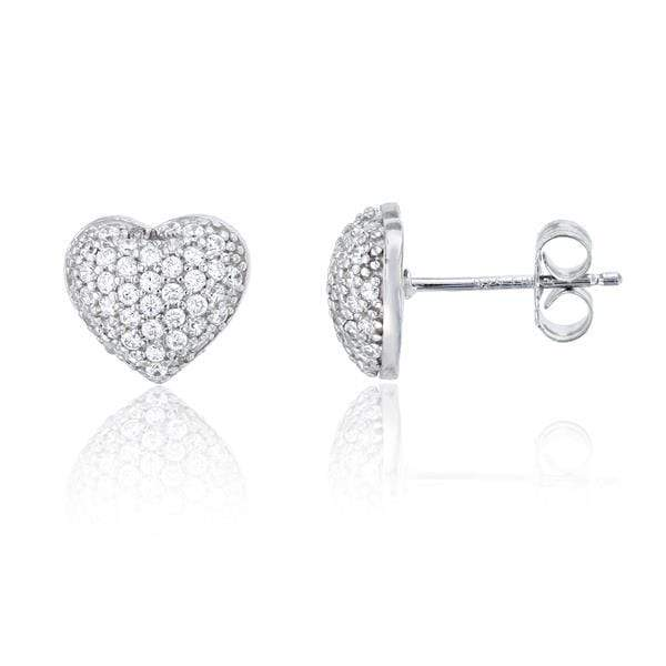 Giorgio Bergamo Earrings White 925 Sterling Silver Cubic Zirconia Puffed Heart Stud Earring MJSSE109