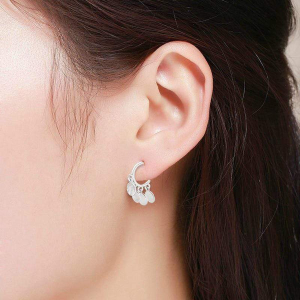 Giorgio Bergamo Earrings White Gold Plated Disc Drop Half Hoop Earring MJE0051