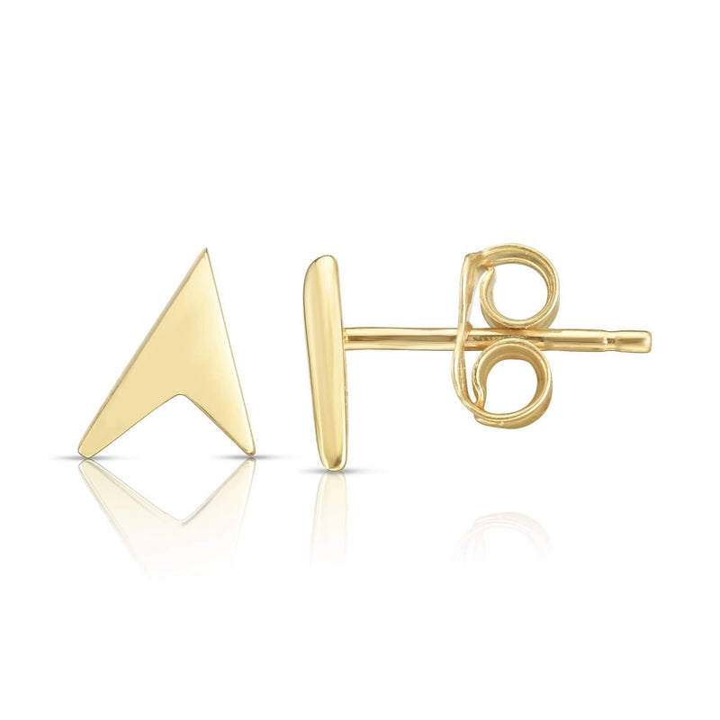 Giorgio Bergamo Earrings Yellow 14kt Gold Polished Arrow Pointer Stud Earring MJER6989