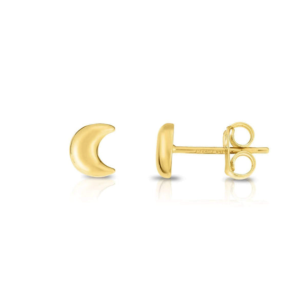 Giorgio Bergamo Earrings Yellow 14kt Gold Polished Crescent Moon Stud Earring MJER7105