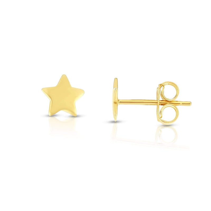 Giorgio Bergamo Earrings Yellow 14kt Gold Polished Star Stud Earring MJER6984