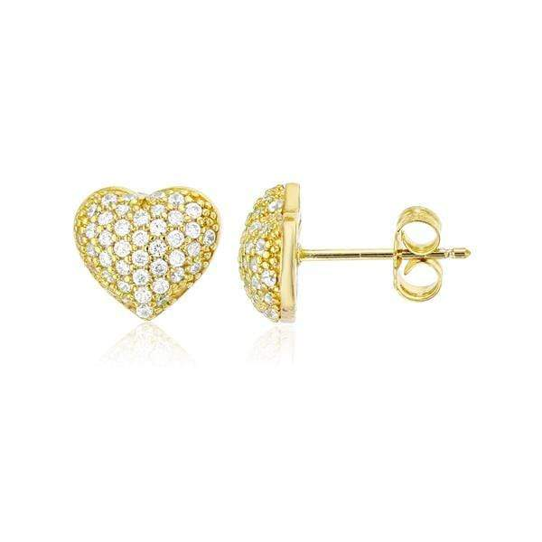 Giorgio Bergamo Earrings Yellow 925 Sterling Silver Cubic Zirconia Puffed Heart Stud Earring MJSSE148