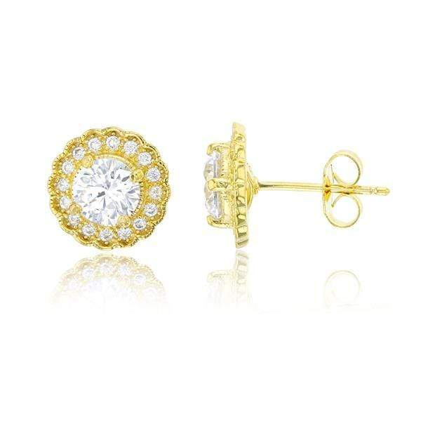 Giorgio Bergamo Earrings Yellow 925 Sterling Silver Micro Pave Halo Stud Earring MJSSE412Y