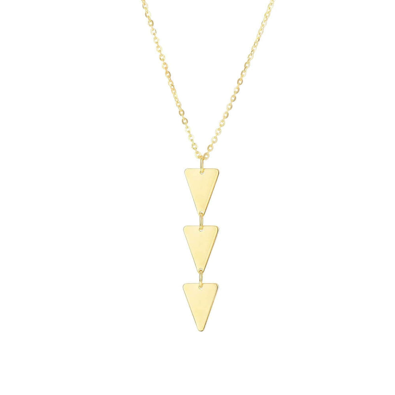 Giorgio Bergamo Jewelry 14kt Gold 3 Tier Triangle Pendant Necklace MJN3215