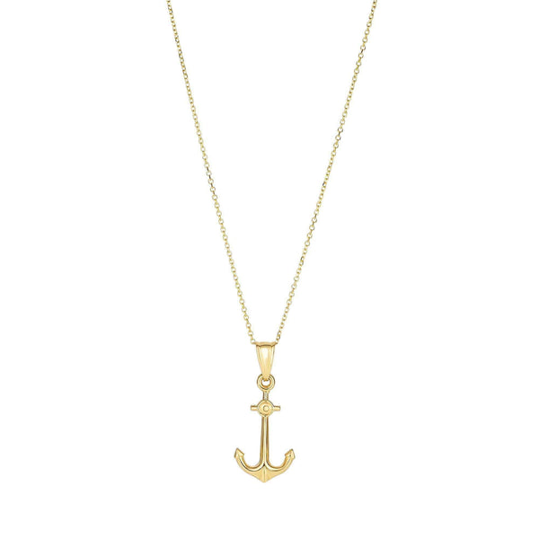 Giorgio Bergamo Jewelry 14kt Gold Anchor Pendant Necklace MJSET2040