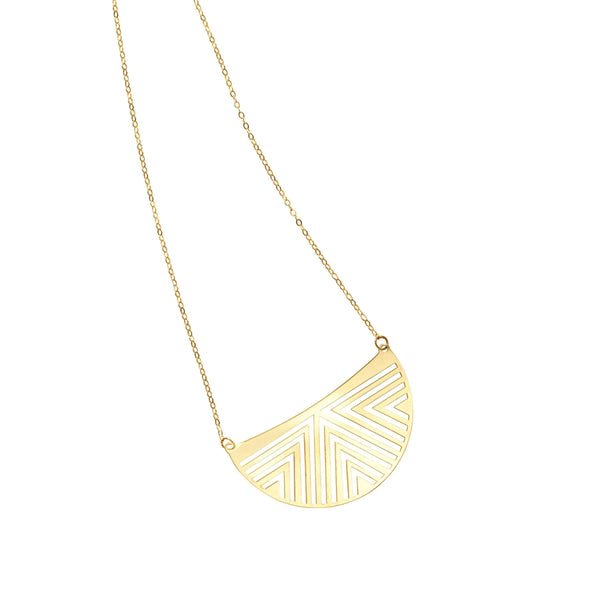 Giorgio Bergamo Jewelry 14kt Gold Aztec Half Circle Pendant Necklace MJRC7060