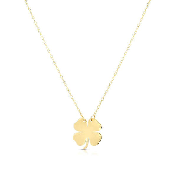 Giorgio Bergamo Jewelry 14kt Gold Lucky 4 Leaf Clover Pendant Necklace MJRC1743