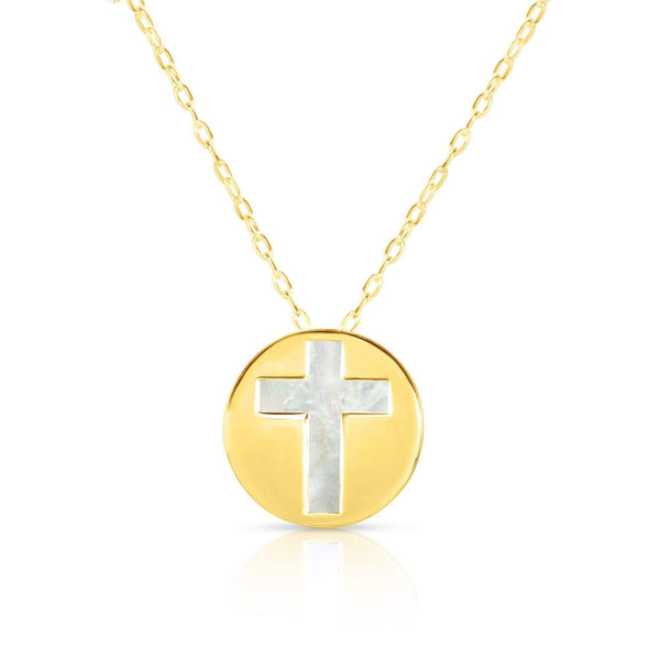 Giorgio Bergamo Jewelry 14kt Gold Mother of Pearl Cross Disc Pendant Necklace MJRC1529