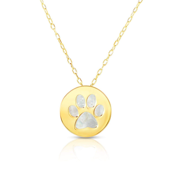 Giorgio Bergamo Jewelry 14kt Gold Mother of Pearl Dog Paw Disc Pendant Necklace MJRC1741